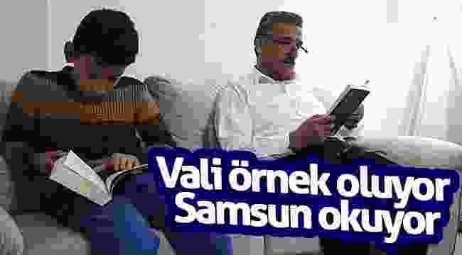 Vali örnek oluyor Samsun okuyor