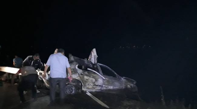 Samsun'da feci kaza yanarak can verdiler