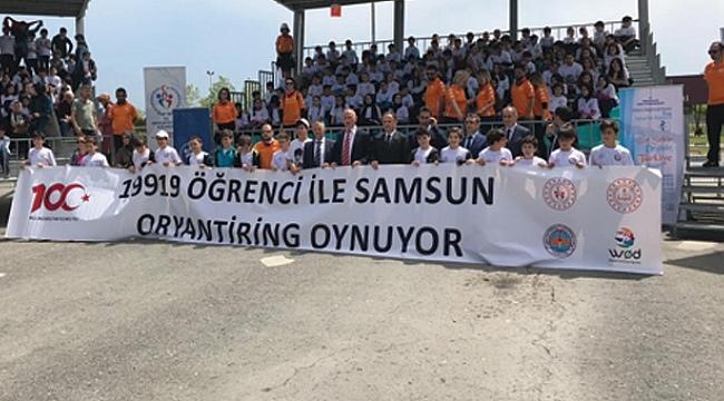 Samsun'da 19 bin 919 öğrenci oryantiring oynadı.