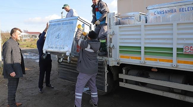 Samsun Haber- Çarşamba Belediyesi'nden her mahalleye çöp konteyneri