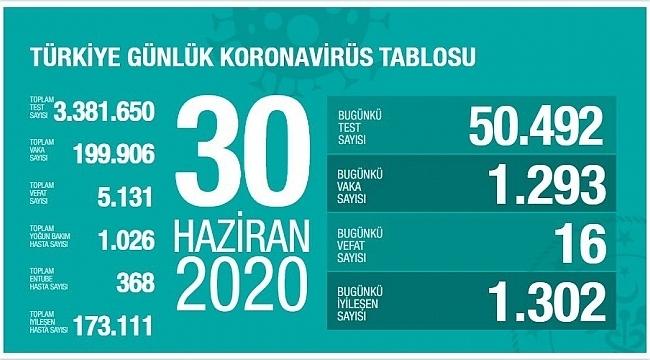 Türkiye'nin 30 Haziran Korona virüs tablosu