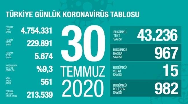 Türkiye'nin 30 Temmuz Korona virüs tablosu